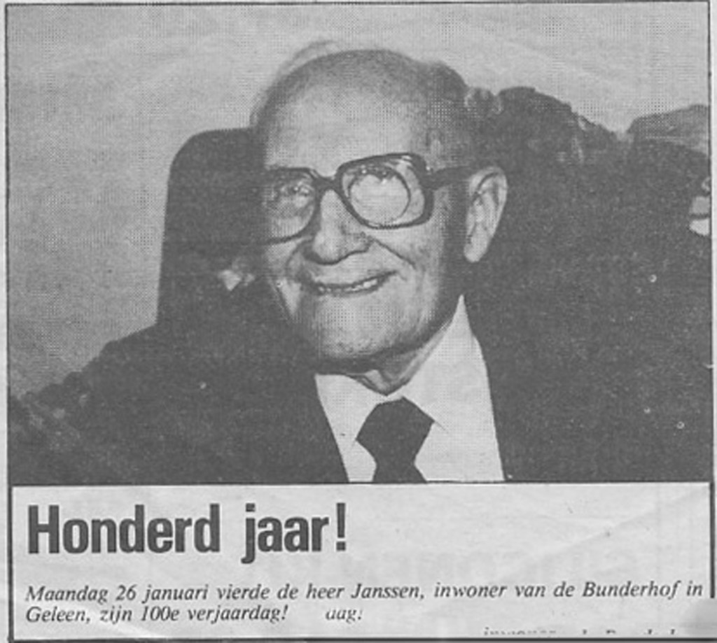1984 - Monday 26 January Mr. Janssen, resident of the home, celebrated his 100th Birthday!
